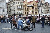 Jazz musicians busking in Prague, Czech republic, old town<br />