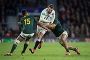 Twickenham, United Kingdom, Saturday, 3rd November 2018, RFU, Rugby, Stadium, England,   Elliot DALY. attacking on the wing, runs into the RSA , defenders, during the Quilter, Autumn International, England vs South Africa, © Peter Spurrier