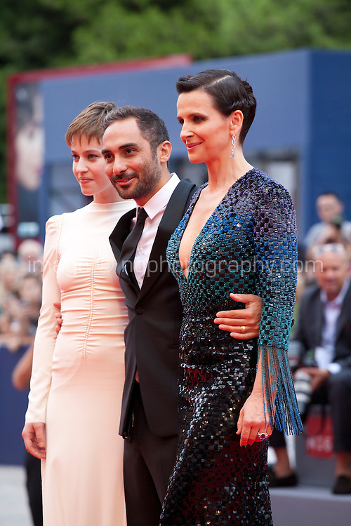 Actress Lou de Laage,  director Piero Messina and actress Juliette Binoche at the gala screening for the film L'attesa at the 72nd Venice Film Festival, Saturday September 5th 2015, Venice Lido, Italy., The Wait