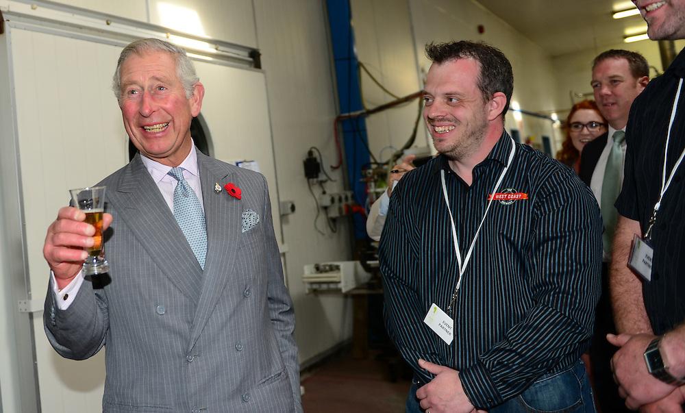Prince Charles, Prince of Wales samples a beer a brewery in Westport, New Zealand, Saturday, November 07, 2015. Credit:SNPA / Westport News, Sheree Cargill