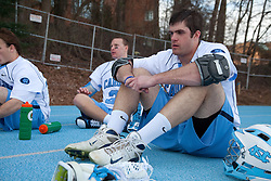 14 February 2009: North Carolina Tar Heels defenseman Ryan Flanagan (24) during the halftime of a 20-7 win over the Denver Pioneers on Fetzer Field in Chapel Hill, NC.