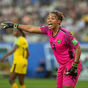 GRENOBLE, FRANCE June 18.  Goalkeeper Nicole McClure #13 of Jamaica in action during the Jamaica V Australia, Group C match at the FIFA Women's World Cup at Stade des Alpes on June 18th 2019 in Grenoble, France. (Photo by Tim Clayton/Corbis via Getty Images)