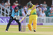 Ellyse Perry of Australia (8) drives off the back foot during the Royal London Women's One Day International match between England Women Cricket and Australia at the Fischer County Ground, Grace Road, Leicester, United Kingdom on 4 July 2019.