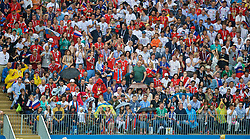 MOSCOW, RUSSIA - Sunday, July 1, 2018: Supporter raise umbrellas as they shelter from the rain during the FIFA World Cup Russia 2018 Round of 16 match between Spain and Russia at the Luzhniki Stadium. (Pic by David Rawcliffe/Propaganda)