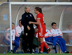 NEWPORT, WALES - Tuesday, June 12, 2018: Wales' Kayleigh Green embraces manager Jayne Ludlow as she is substituted during the FIFA Women's World Cup 2019 Qualifying Round Group 1 match between Wales and Russia at Newport Stadium. (Pic by David Rawcliffe/Propaganda)