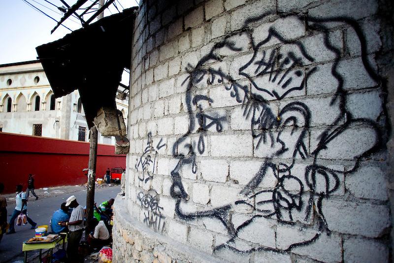 Grafiti on the street in Petionville, Haiti. Photo by Ben Depp. 2/7/2010