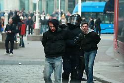26.02.2011, Ban Josip Jelacic Platz, CRO, Zagreb, Nach dem ruhigen Kriegsveteranen Protest über die wichtigsten Ban Josip Jelacic Platz, eine Gruppe von Demonstranten, überwiegend junge Leute die sich über Facebook versammelten, begannen die  Ausschreitungen, sie wurden mit der  Polizei konfrontiert. Rund 60 Personen wurden verhaftet und 33 Menschen wurden verletzt.  26.02.2011., Zagreb, Croatia - After the quiet war veterans protest on the main Ban Josip Jelacic square, a group of protesters, mainly young people gathered through Facebook, started riots. They confronted with the police. Around 60 people were arrested and 33 people were hurt. EXPA Pictures © 2011, PhotoCredit: EXPA/ nph/ PIXSELL       ****** out of GER / SWE / CRO  / BEL ******