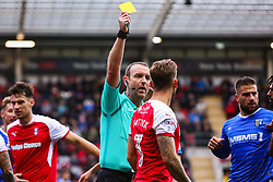 Joe Mattock of Rotherham United is shown the yellow card after a foul on Scott Wagstaff of Gillingham - Mandatory by-line: Ryan Crockett/JMP - 28/10/2017 - FOOTBALL - Aesseal New York Stadium - Rotherham, England - Rotherham United v Gillingham - Sky Bet League One