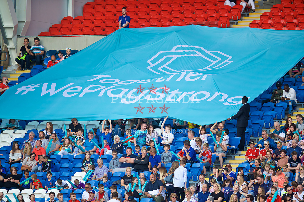CARDIFF, WALES - Thursday, June 1, 2017: A #WePlayStrong banner during the UEFA Women's Champions League Final between Olympique Lyonnais and Paris Saint-Germain FC at the Cardiff City Stadium. (Pic by David Rawcliffe/Propaganda)