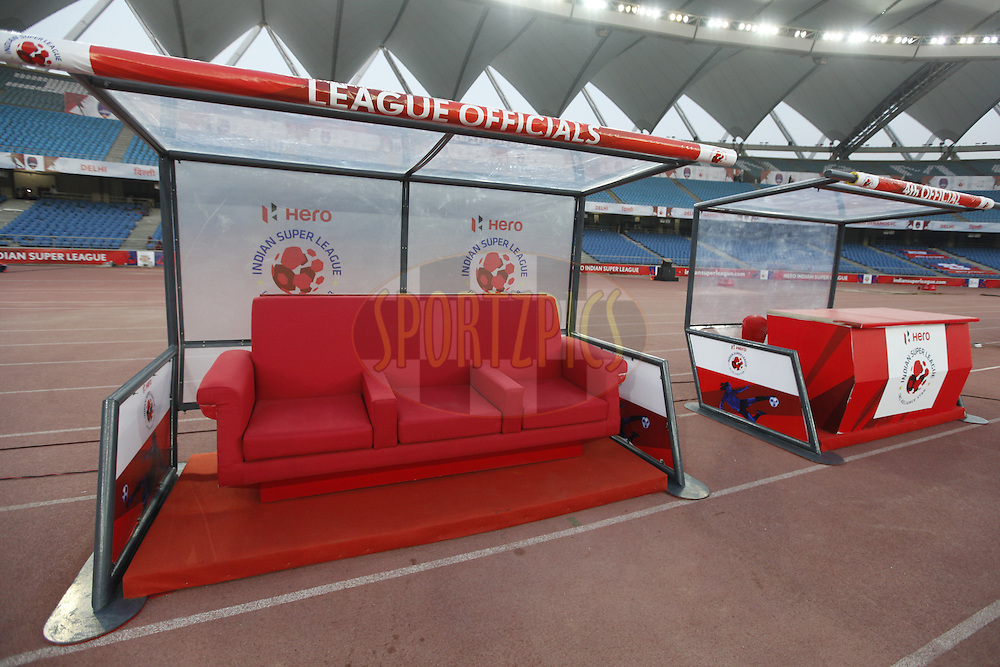 League official area during match 17 of the Indian Super League (ISL) season 3 between Delhi Dynamos FC and Mumbai City FC held at the Jawaharlal Nehru Stadium in Delhi, India on the 18th October 2016.<br /> <br /> Photo by Arjun Singh / ISL/ SPORTZPICS