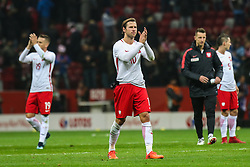 November 10, 2017 - Warsaw, Poland - Grzegorz Krychowiak (POL), Piotr Zielinski (POL) reacts after the international friendly match between Poland and Uruguay at National Stadium on November 10, 2017 in Warsaw, Poland. (Credit Image: © Foto Olimpik/NurPhoto via ZUMA Press)