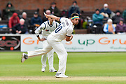 Jack Brooks of Yorkshire bowling during the third day of the Specsavers County Champ Div 1 match between Somerset County Cricket Club and Yorkshire County Cricket Club at the Cooper Associates County Ground, Taunton, United Kingdom on 29 April 2018. Picture by Graham Hunt.