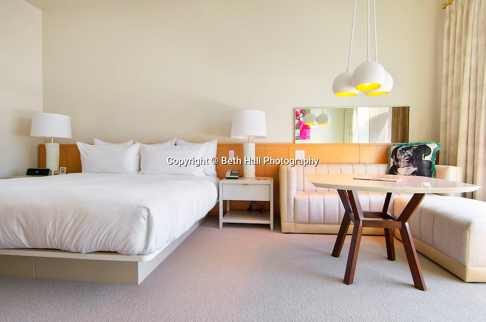 Interior photographs of homes and businesses for commercial and editorial photography. Photo of a hotel room at 21C in Benvonville.