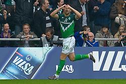 30.10.2010, Weser Stadion, Bremen, GER, 1.FBL, Werder Bremen vs 1. FC 1. FC Nürnberg im Bild  Jubel 1:0 Hugo Almeida ( Werder #23 )   EXPA Pictures © 2010, PhotoCredit: EXPA/ nph/  Kokenge+++++ ATTENTION - OUT OF GER +++++