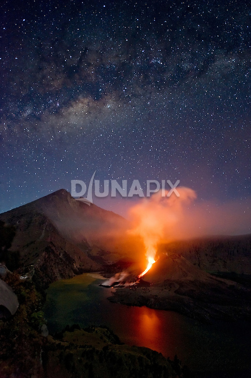 Mount Rinjani erupts in Lombok, Indonesia, 2009