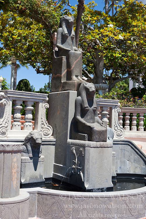 Egyptian statues outside of Casa grande, Hearst Castle, California, United States of America