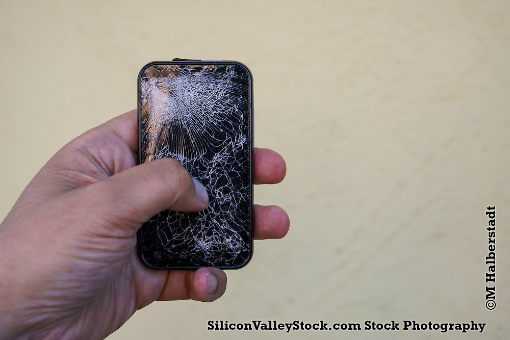 Mobile Phone with Cracked Screen
