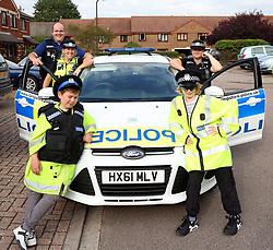 &copy; Licensed to UK  News in  Pictures.Portsmouth,Hampshire Thursday 13th July 2017 Police paid a visit to a local boy whose mum put out a plea on Facebook asking for people to send him a birthday card.<br /> <br /> Police Sergeant Roger Loxton-Gear from Hampshire Constabulary visited the home of Ben Jackson who has high functioning autism after the post went viral. His mum, Lisa, had detailed how nobody had turned up at one of his previous birthday parties despite being invited. &nbsp;She wanted him to feel special on his birthday on Saturday and asked people to send a card to her address.<br /> <br /> Sergeant Loxton-Gear's team were moved enough to chip in for a card and present which was dropped to Ben's house yesterday.<br /> <br /> <br /> <br /> That wasn't the only surprise for Ben that day. PC Amy Bianchini from Fratton and Baffins Neighborhood Policing Team brought a police car and uniform for Ben and his friend to try on. Not long after that, a second car arrived from Cosham.<br /> <br /> <br /> Ben enjoyed the visit so much he asked if he could rob a bank but instead spent his time playing in the car and handcuffing the cops.<br /> <br /> Mum Lisa, said, &quot;Thank you from the bottom of my heart for making Ben's day! Amazing kindness from you all! I will always remember what you did for him.&rdquo;&copy;UKNIPPhoto credit:UKNIP