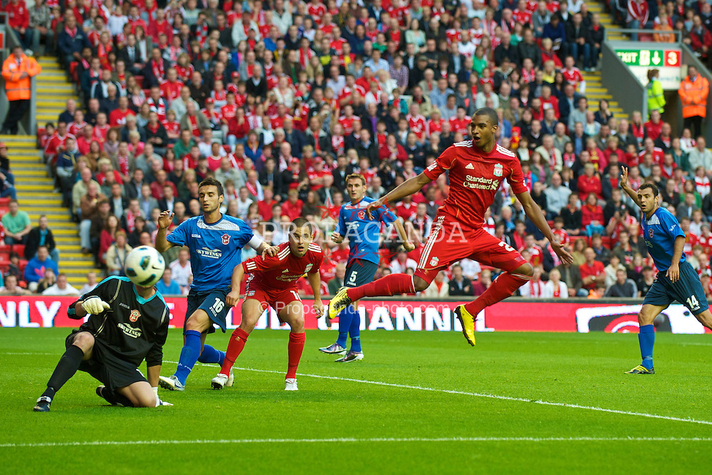 LIVERPOOL, ENGLAND - Thursday, August 5, 2010: Liverpool's David Ngog in action against FK Rabotnicki during the UEFA Europa League 3rd Qualifying Round 2nd Leg match at Anfield. (Pic by: David Rawcliffe/Propaganda)