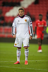 LIVERPOOL, ENGLAND - Tuesday, December 9, 2014: FC Basel's hefty Antonio Fischer in action against Liverpool during the UEFA Youth League Group B match at Langtree Park. (Pic by David Rawcliffe/Propaganda)
