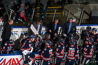 KELOWNA, CANADA - MARCH 26: Don Hay, coach of the Kamloops Blazers, stands on the bench and goes over a play during a time out against the Kelowna Rockets on March 26, 2016 at Prospera Place in Kelowna, British Columbia, Canada.  (Photo by Marissa Baecker/Shoot the Breeze)  *** Local Caption *** Don Hay;
