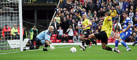 Fotball<br /> England 2004/2005<br /> Foto: SBI/Digitalsport<br /> NORWAY ONLY<br /> <br /> Watford v Reading<br /> Coca-Cola championship. Vicarage Road.<br /> 25/09/2004<br /> Watford's Heidar Helguson shoots for goal but it is saved by Readings' Marcus Hahnemann.