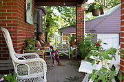 Sharon Kabel knits at her home in East Aurora, New York on Tuesday, June 19, 2018. CREDIT: Mike Bradley for The Wall Street Journal<br /> SHORTFALL_KABEL