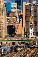 Long Island Railroad trains in train yard, west side of Manhattan, New York, New York USA.