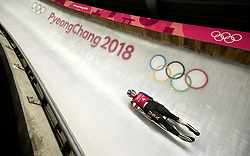 February 8, 2018 - Pyeongchang, South Korea - USA's Summer Britcher during the Luge Women's singles training runs the evening before the opening ceremonies for the 2018 Pyeongchang Winter Olympics. (Credit Image: © Daniel A. Anderson via ZUMA Wire)