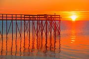 Pier at sunrise on Lake Winnipeg<br />Matlock<br />Manitoba<br />Canada