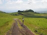 Verdant landscape in southwestern Sao Miguel Azores Portugal 2015.