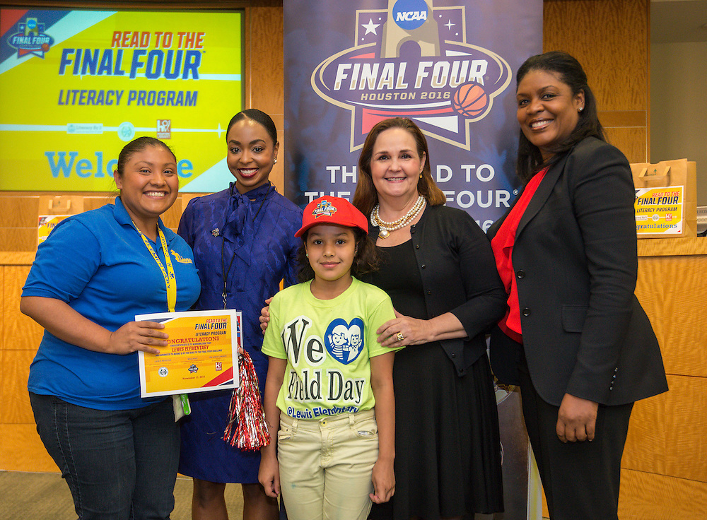 Lewis Elementary School is recognized during the reveal of the 32 finalists in the Houston ISD NCAA Read to the Final Four, November 11, 2015.