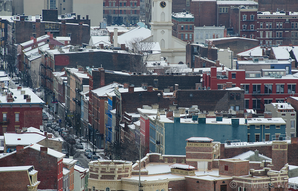 Snowy rooftops on Main St in Over the Rhine Cincinnati