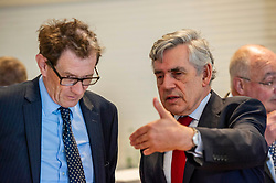 Pictured: Gordon Brown prepares to make his speech.<br /><br />Gordon Brown addressed thenew Scottish think tank seminar today.  He was joined by Shadow Scottish secretary Lesley Laird and Scottish Labour leader Richard Leonard who also spoke at the inaugural meeting of Our Scottish Future<br /><br />Ger Harley | EEm 30 August 2019