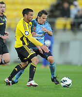 Sydney FC's Alessandro del Piero, right, clashes the Phoenix's Manny Muscat in the A-League foootball match at Westpac Stadium, Wellington, New Zealand, Saturday, October 06, 2012. Credit:SNPA / Ross Setford