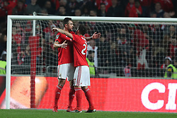 December 23, 2018 - Lisbon, Portugal - Benfica's Brazilian defender Jardel celebrates with Portuguese midfielder Pizzi after scoring a goal during the Portuguese League football match SL Benfica vs SC Braga at the Luz stadium in Lisbon on December 23, 2018. (Credit Image: © Pedro Fiuza/ZUMA Wire)