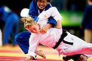 RIO DE JANEIRO - Kim Polling tijdens haar partij tegen Haruka Tachimoto tijdens het judo op de Olympische Spelen in Rio. ANP ROBIN UTRECHT