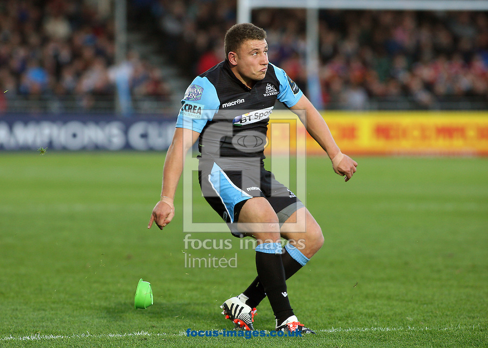 Duncan Weir of Glasgow Warriors kick the conversion during the European Rugby Champions Cup match at Scotstoun Stadium, Glasgow<br /> Picture by Ian Buchan/Focus Images Ltd +44 7895 982640<br /> 18/10/2014