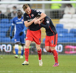 Reading's Oliver Norwood celebrates with Reading's Alex Pearce - Photo mandatory by-line: Alex James/JMP - Mobile: 07966 386802 - 24/01/2015 - SPORT - Football - Cardiff - Cardiff City Stadium - Cardiff City v Reading - FA Cup Fourth Round