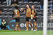 Hull City midfielder Jackson Irvine (16) celebrates goal to go 1-0 during the EFL Sky Bet Championship match between Hull City and Bristol City at the KCOM Stadium, Kingston upon Hull, England on 5 May 2019.