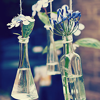 Some glass bottles with water and flowers in them.