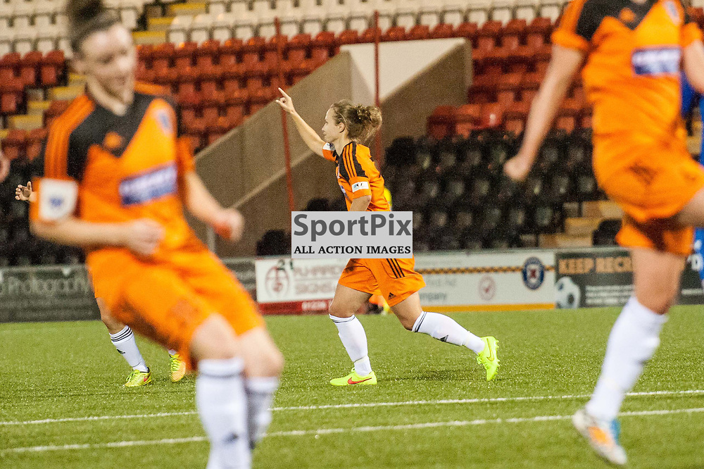 Glasgow City's Eilish McSorley celebrates scoring her 2nd goal. Action from the Glasgow City v Nove Zamky game in the UEFA Womens Champions League at Excelsior Stadium in Airdrie, 9 August 2014. (c) Paul J Roberts / Sportpix.org.uk
