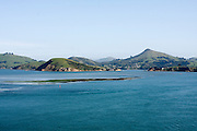 New Zealand, South Island, Otago Peninsula as seen from the sea