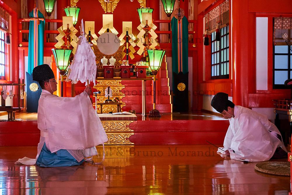 Japon, île de Honshu, région de Chugoku, Tsuwano, temple Taikodani Inari Jinja, sanctuaire shintoiste, ceremonie religieuse // Japan, Honshu island, Chukogu region, Tsuwano, Taikodani Inari Jinja Temple, Shinto sanctuary, religious ceremony