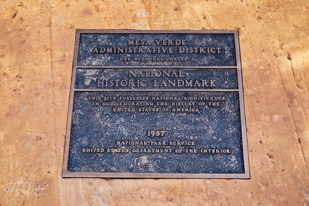 National Historic Landmark plaque, Mesa Verde National Park, Colorado