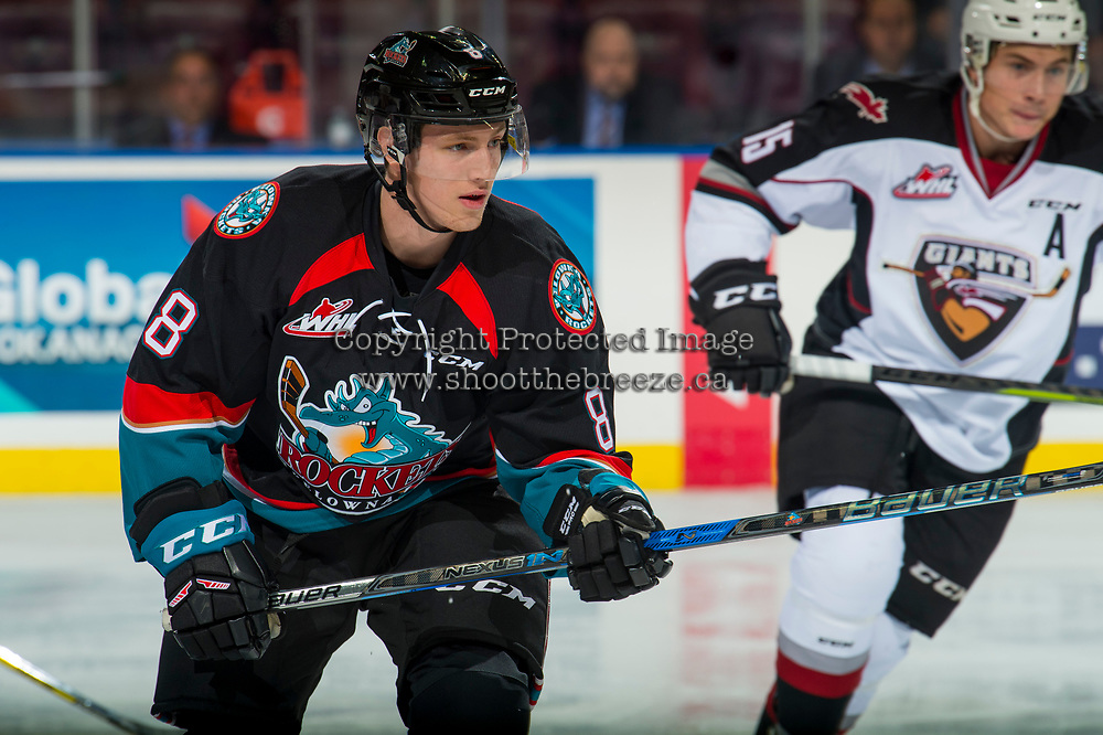 KELOWNA, CANADA - OCTOBER 3:  Jack Cowell #8 of the Kelowna Rockets skates against the Vancouver Giants on October 3, 2018 at Prospera Place in Kelowna, British Columbia, Canada.  (Photo by Marissa Baecker/Shoot the Breeze)  *** Local Caption ***