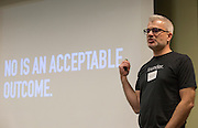 Ryan Frederick, the principal of AWH and director of Startup grind, gives advice on giving a pitch and following through with an idea at Startup Weekend Athens at the Ohio University Innovation Center on March 18, 2016.