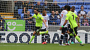 Brighton central midfielder, Dale Stephens scores and celebrates during the Sky Bet Championship match between Bolton Wanderers and Brighton and Hove Albion at the Macron Stadium, Bolton, England on 26 September 2015.