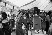 Hip Hop music tent at the Moss Side Carnival, Alexandra Park, Manchester, 1989.