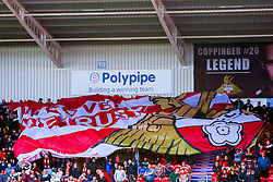 A giant Doncaster Rovers flag is passed around The Keepmoat Stadium - Mandatory by-line: Ryan Crockett/JMP - 07/09/2019 - FOOTBALL - The Keepmoat Stadium - Doncaster, England - Doncaster Rovers v Rotherham United - Sky Bet League One